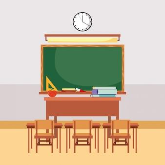 Desenhos animados de mobília de sala de aula