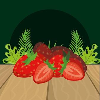 Desenhos animados de morango frutas frescas