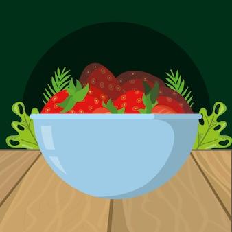 Desenhos animados de morangos de frutas frescas