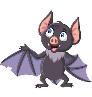 Desenhos animados de morcego bonito acenando isolado no branco