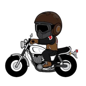 Desenhos animados de motocicleta vintage de passeio de homem
