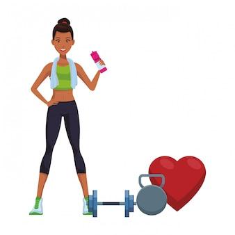 Desenhos animados de mulher de fitness