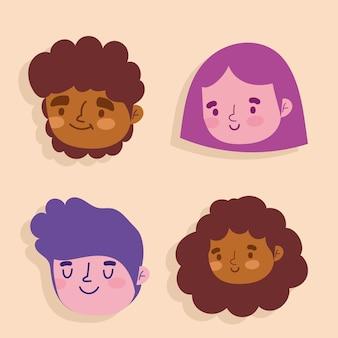 Desenhos animados de mulher e homem rostos personagem feminino ícones conjunto ilustração
