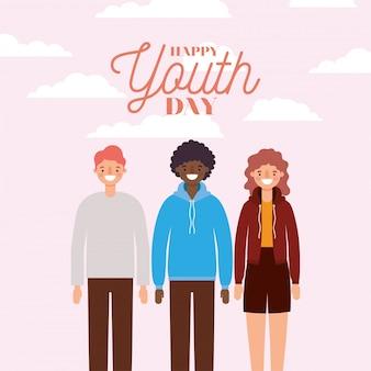 Desenhos animados de mulher e homens sorrindo do projeto feliz dia da juventude, tema de férias e amizade jovem.