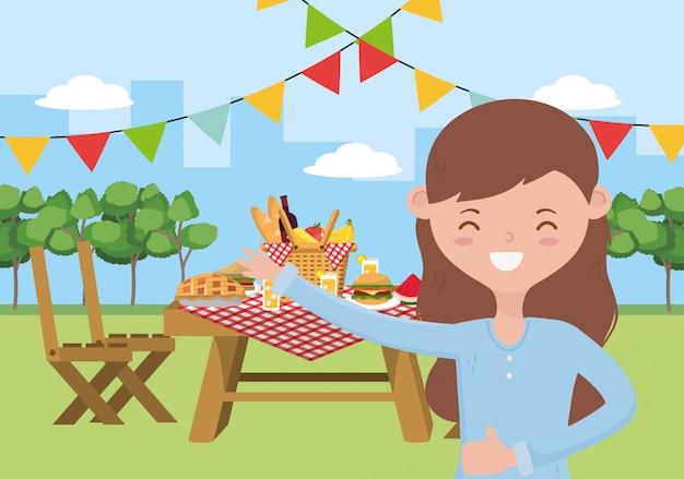 Desenhos animados de mulher tendo design de piquenique, comida festa verão lazer ao ar livre saudável primavera almoço e tema de refeição