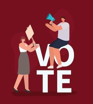 Desenhos animados de mulheres com design de placa de banner e megafone, dia de eleições de voto e tema de governo.