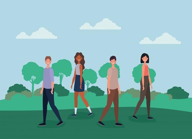 Desenhos animados de mulheres e homens caminhando no parque com desenho vetorial de árvores