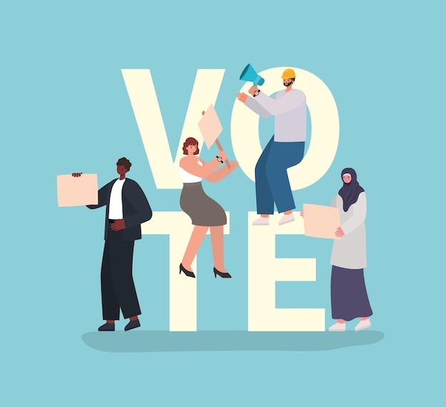 Desenhos animados de mulheres e homens com cartazes de votação e megafone no design de fundo azul, tema do dia de eleições de voto.