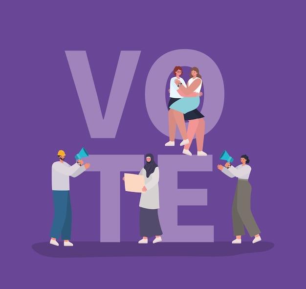 Desenhos animados de mulheres e homens com cartazes de voto e design de megafone, dia de eleições de voto e tema do governo.