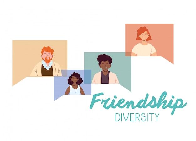 Desenhos animados de mulheres e homens em design de bolhas, tema de diversidade cultural e de amizade