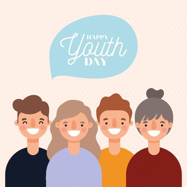 Desenhos animados de mulheres e homens sorrindo de feliz dia da juventude design, tema de férias e amizade jovem.