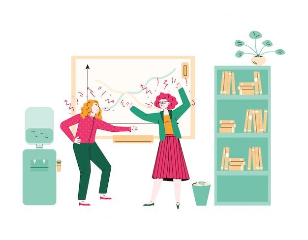 Desenhos animados de mulheres em conflito, tendo um grito de luta na sala de aula