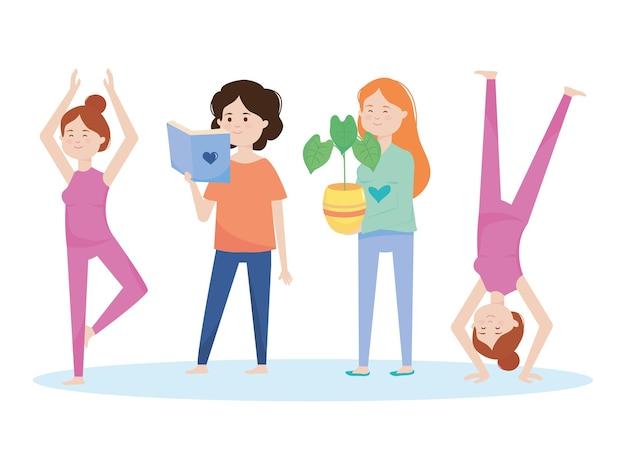 Desenhos animados de mulheres felizes fazendo ioga