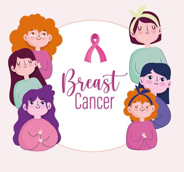 Desenhos animados de mulheres jovens com câncer de mama com ilustração de faixa de fita rosa