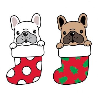 Desenhos animados de natal do buldogue francês de cachorro