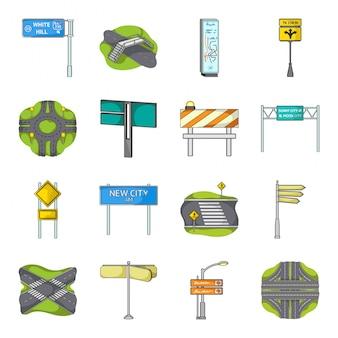 Desenhos animados de navegação da cidade definir ícone. desenhos animados isolados definir placa de rua do ícone. navegação na cidade.