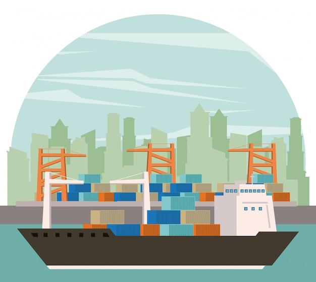 Desenhos animados de navio de mercadoria de carga de transporte
