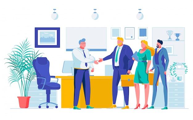 Desenhos animados de negociação bem sucedida de parceiros de negócios