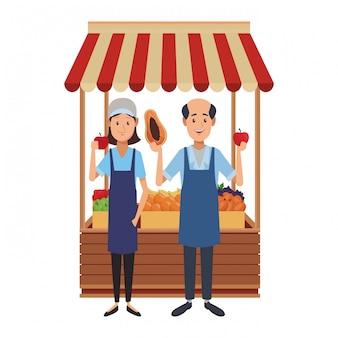 Desenhos animados de negócios de mercearia