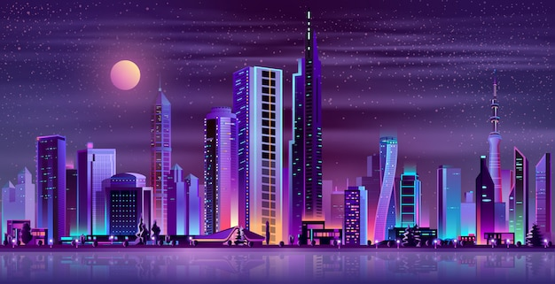 Desenhos animados de néon da paisagem moderna da noite da cidade