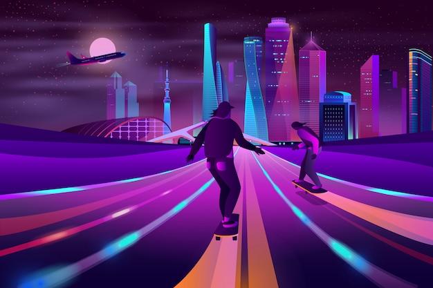 Desenhos animados de néon dos esportes extremos da cidade