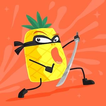 Desenhos animados de ninja de abacaxi