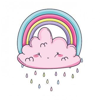 Desenhos animados de nuvem e arco-íris