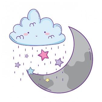Desenhos animados de nuvem e lua
