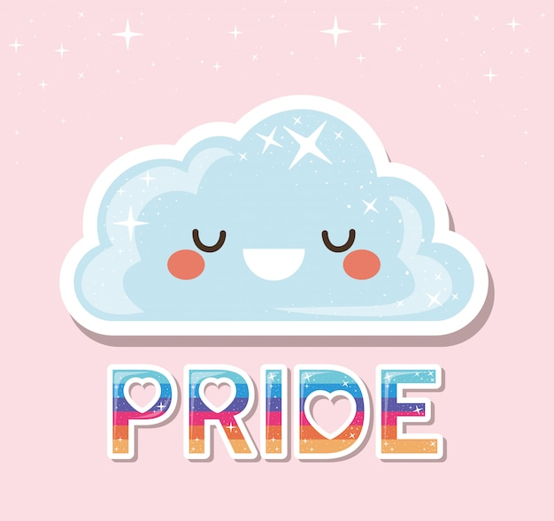 Desenhos animados de nuvem kawaii lgtbi com design de texto de orgulho