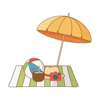 Desenhos animados de objetos de praia de férias de verão