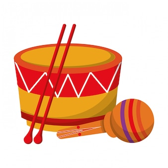 Desenhos animados de objetos musicais de instrumentos de música