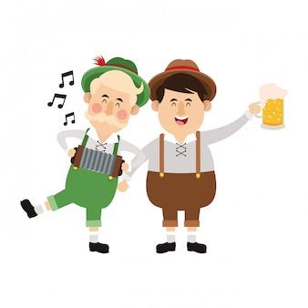 Desenhos animados de oktoberfest de homens bávaros