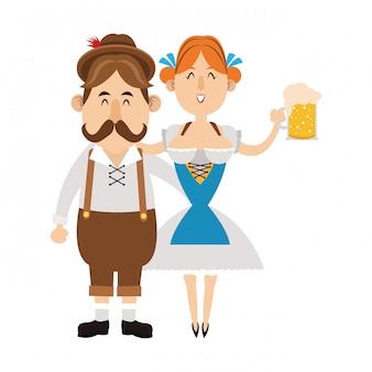 Desenhos animados de oktoberfest de pessoas da baviera