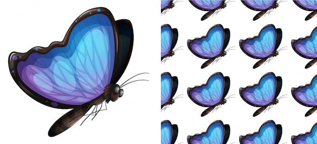 Desenhos animados de padrão de borboleta sem emenda e isolado