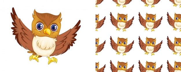 Desenhos animados de padrão de coruja isolado