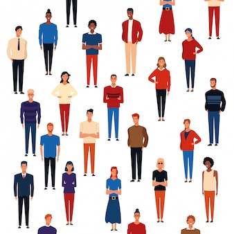 Desenhos animados de padrão de fundo de pessoas