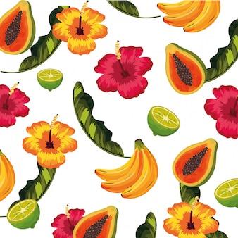 Desenhos animados de padrão floral sem emenda
