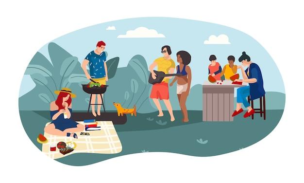 Desenhos animados de pais e filhos passando um tempo juntos em uma festa de piquenique para meninas