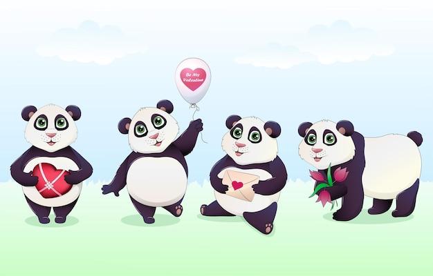 Desenhos animados de panda coloridos com diferentes presentes de amor