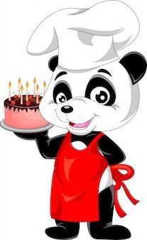 Desenhos animados de panda com bolo de aniversário
