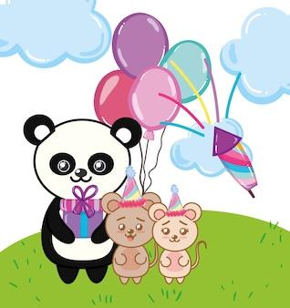 Desenhos animados de panda feliz aniversário
