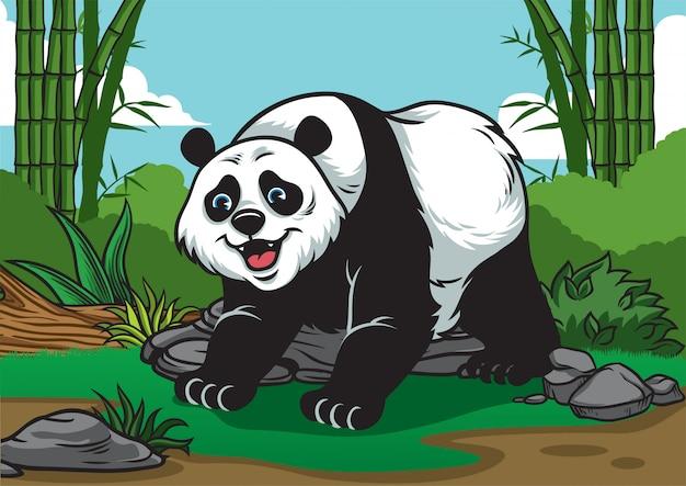 Desenhos animados de panda na floresta de bambu