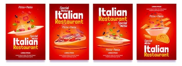 Desenhos animados de panfletos de restaurante italiano