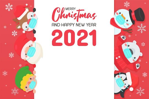 Desenhos animados de papai noel e amigos usando máscaras para evitar vírus reúna-se para celebrar o natal