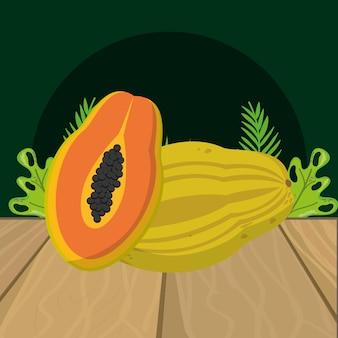 Desenhos animados de papaia frutas frescas