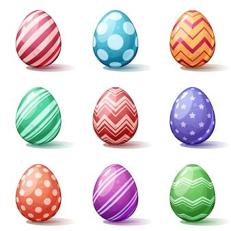 Desenhos animados de páscoa feliz. definir ícone de ovo