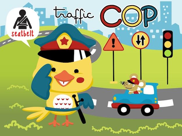 Desenhos animados de pássaro pequeno o policial de trânsito engraçado