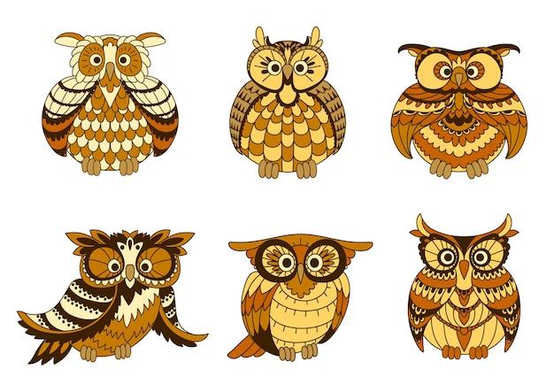 Desenhos animados de pássaros de corujas com plumagem marrom e amarela, discos faciais ornamentais e tufos de orelha.