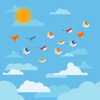 Desenhos animados de pássaros voando no céu com nuvens e ilustração do sol.