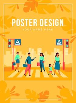 Desenhos animados de pedestres andando pela faixa de pedestres ilustração plana isolada. pessoas atravessando a avenida. conceito moderno de estilo de vida, tráfego e paisagem urbana